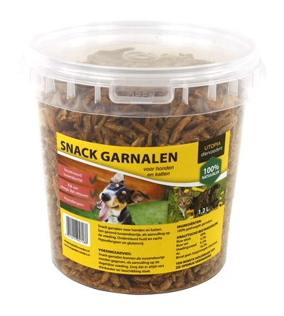 Gedroogde snack garnalen voor hond en kat