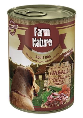 Farm nature wild boar / courgette / tomato / dill