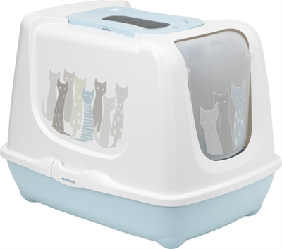 Moderna kattenbak trendy maasai lichtblauw / wit