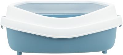 Trixie kattenbak primo met rand blauw / wit