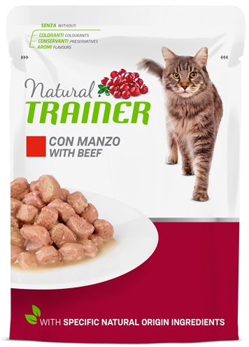 Natural trainer cat adult beef pouch